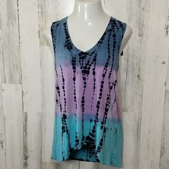 Chaser Tops - CHASER Purple Tie Dye Tunic V-neck New Tank Small